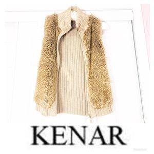 Kenar Cable Knit Faux Fur Sweater Vest 🌸